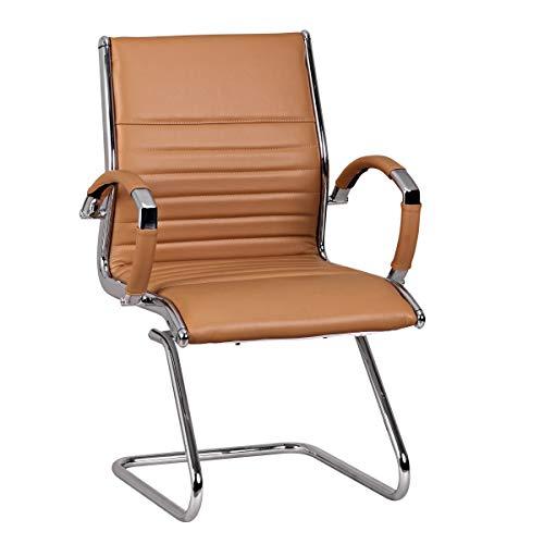 FineBuy Design Besucherstuhl Echt Leder Caramel für Büro | Konferenzstuhl mit Armlehnen - Bis 120 KG | Freischwinger Stuhl ergonomisch gepolstert