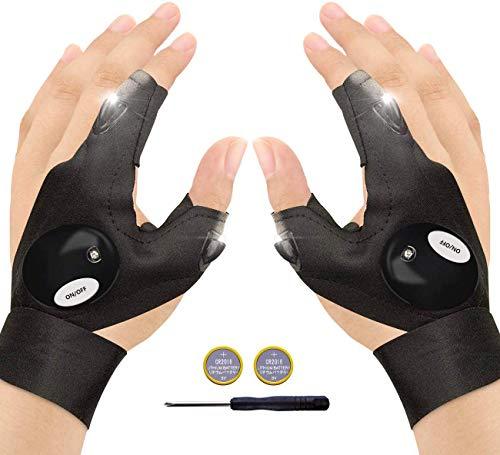 FILOWA LED Fingerlos Angelhandschuhe, 1 Paar Outdoor Taschenlampe Handschuhe Schwarz, Arbeitshandschuhe mit Licht zum Reparieren, Arbeiten an dunklen Orten, Angeln, Camping und Wandern