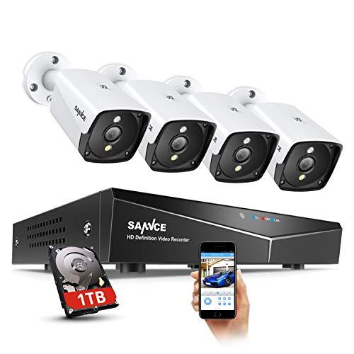 Sannce 5 MP PoE Überwachungskamera Set mit 4X 5 MP IP Wasserfeste Kamera und 4CH 1 TB Festplatte NVR POE Überwachungssystem für Haus, Innen, Außen Sicherheit