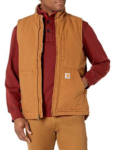 Carhartt Herren Washed Duck Sherpa Lined Mock Neck Vest, Brown, L
