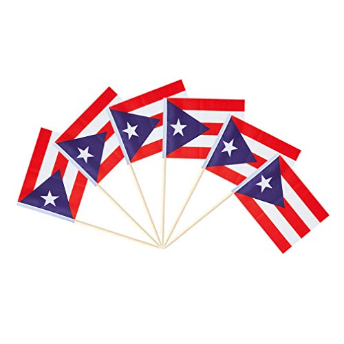 Puerto Rico Small Toothpick Flag Decor Puerto Rican Mini Cupcake Stick Flags Decorations (100 pack) (Puerto Rico)