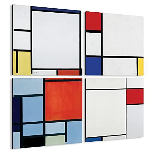Giallobus - 4 Cuadrados de Paneles múltiples - Piet Mondrian - Las Obras más Bellas de Mondrian - Colección 2 - Madera de MDF - 29,7X29,7-4 Piezas.