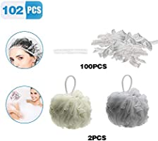 100 cuffie per doccia monouso, cuffie doccia monouso in plastica trasparente elastica, 2pcs spugna da doccia, per casa,...