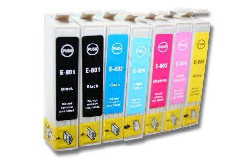 7 x Cartucho de Tinta para EPSON Stylus Foto PX660, PX720 WD, PX720WD, PX820 FWD, PX820FWD etc.