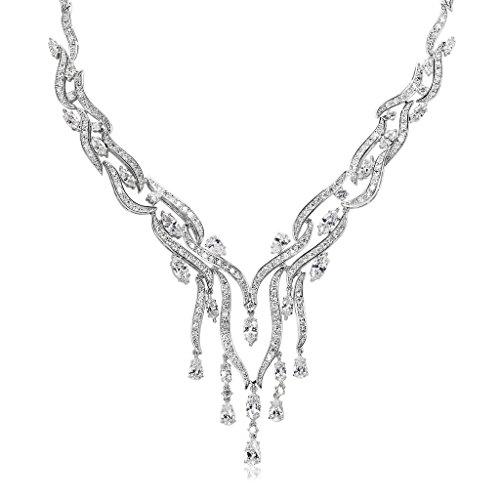 Blisfille Conjunto de Cristal Colgante Collar + Pendientes Collar Mujer Perlas y Collares Mujer Joven de Perlaspara Mujer Adolescente Niña Pequeña Mamá - Accesorio de Joyería de Regalo Premium,Blanca