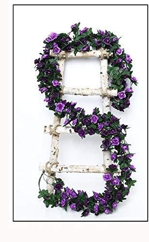 ZHAOFANGSTORE 5 Pack 2.7m Fake Rose Vine Flowers Plants Artificial Flower Hanging Rose Ivy Home Hotel Office Wedding Party Garden Art Decor (Color : Purple)