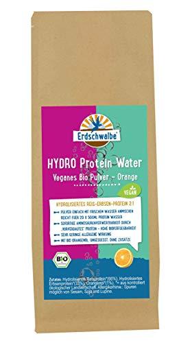 Erdschwalbe HYDRO Protein Water BIO - Veganes Pulver + Orange - Hydrolisiertes Reis-Erbsen-Protein - Hergestellt in der EU - 200g - reicht für 10 Liter Getränk