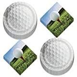 Golf Party Supplies - Golf Ball Paper Dessert Plates and Ball on Tee Beverage Napkins (Serves 16)