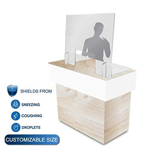 Aiyaoo Spuckschutz Plexiglas Durchreiche, Hustenschutz apotheke, Schutzscheibe Thekenschutz, Schutz vor Viren Hochwertiger Hygieneschutz für Tischaufsatz, 40x70cm(BxH)