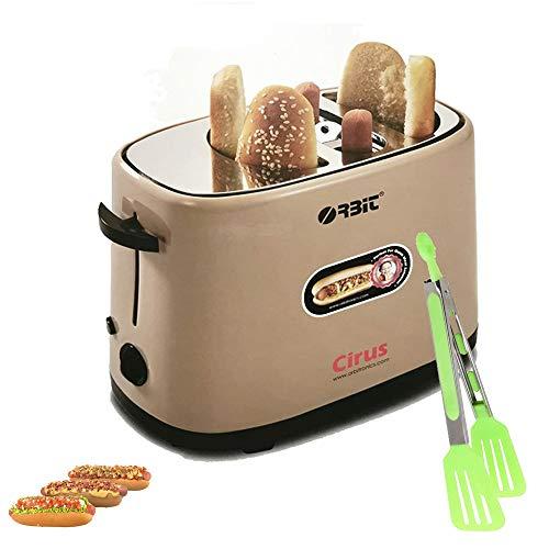 Máquina Calentador De Perritos Calientes | Hot Dog| de 750w Tostadora de acero inoxidable + Pinza (Tostadora + pinza)