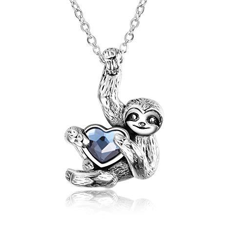 YAFEINI Faultier-Halskette, Sterling Silber, Faultier-Halskette, Herz, Kristall, Faultier-Schmuck für Damen und Herren
