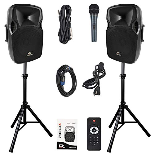 RECK PARTY 12 12-Inch 1000 Watts 2-Way Powered PA Speaker System Combo Set with Bluetooth/USB/SD Card Reader/FM Radio/Remote Control/Speaker Stand