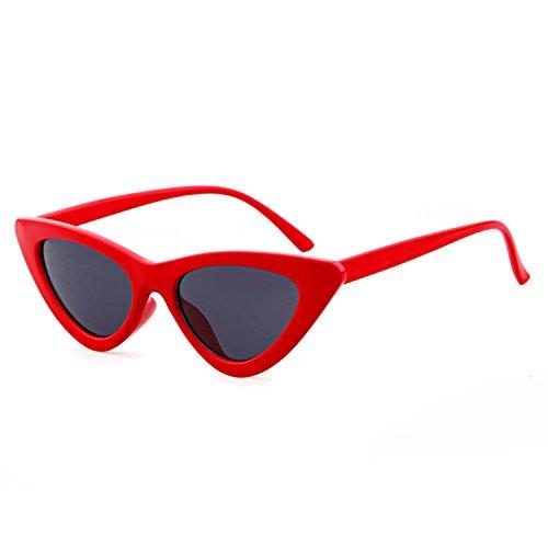 ADEWU Gafas de sol ojo de gato gafas de protección para niñas mujeres, estilo vintage Gafas de sol retro de Kurt Cobain (A - Rojo (polarizado))