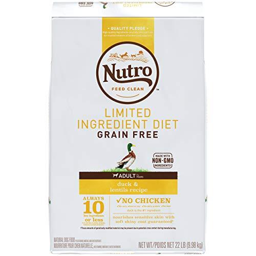 NUTRO Limited Ingredient Diet Adult Dry Dog Food Duck & Lentils Recipe Dog Kibble, 22 lb. Bag