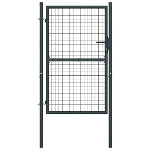 vidaXL Puerta de Malla de Jardín Cerca Patio Cancelas Paneles Terraza Exterior Hogar Decoración Protección Portal de Acero Galvanizado Gris 100x200cm