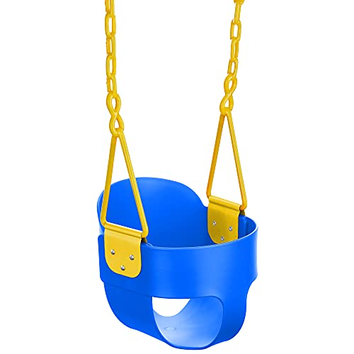 Squirrel Products High Back Full Bucket Toddler Swing with Exclusive Chain & Triangle Dip Pinch Protection and Carabiners for Easy Install - Blue