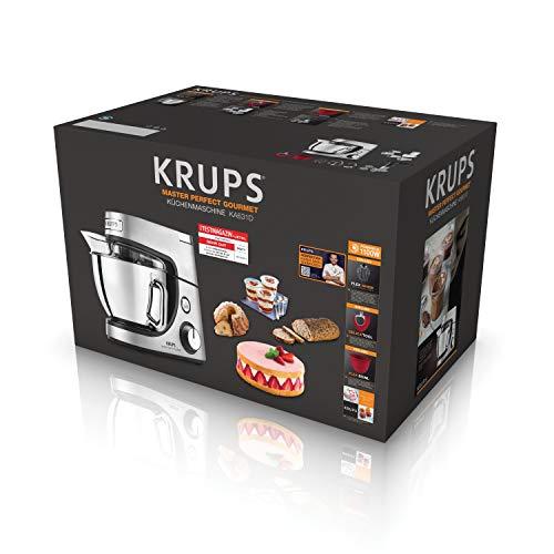 Krups Premium Küchenmaschine 17 teilig, 4,6L Edelstahlschüssel, Silikonschüssel, 4 Rührwerkzeuge Edelstahl, spülmaschinenfest, 1100W, Schnitzelwerk, Fleischwolf, Gratis Rezepte und 12er Cupcake Form - 16