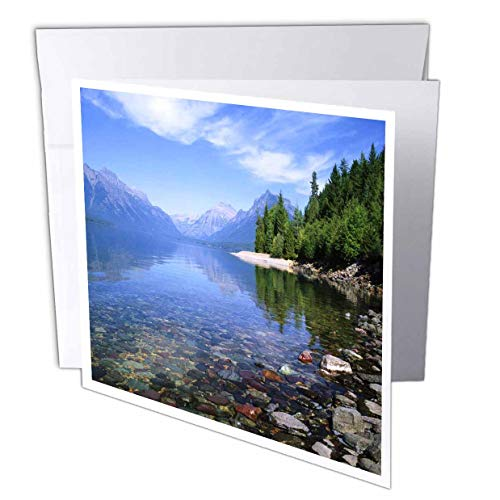 "3dRose Glacier National Park Montana Greeting Cards, 6"" x 6"", Set of 12 (gc_57599_2)"