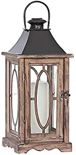 Dark Brown Wood and Metal Lantern with Glass Sides and Door | Use as a Rustic Home Decoration or a Unique Centerpiece for Parties, Weddings, and Birthday Celebrations