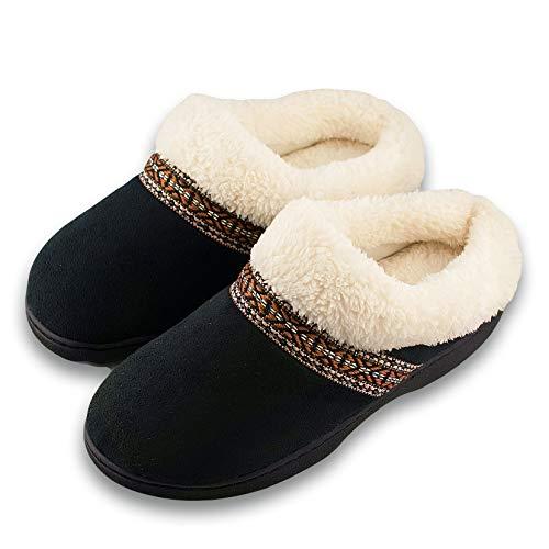 Roxoni Women's Slippers Suede Memory Foam Clog Slippers Plush Fleece Lined House Shoes Black 8.5/9 -  43212-10564
