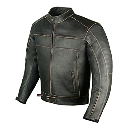Men's Vintage Motorcycle Cruiser Armor Ventilated Leather Touring Biker Jacket by Jackets 4 Bikes