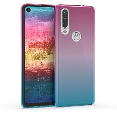 kwmobile Case Compatible with Motorola One Action - Clear TPU Soft Smartphone Cover - Bicolor Dark Pink/Blue/Transparent