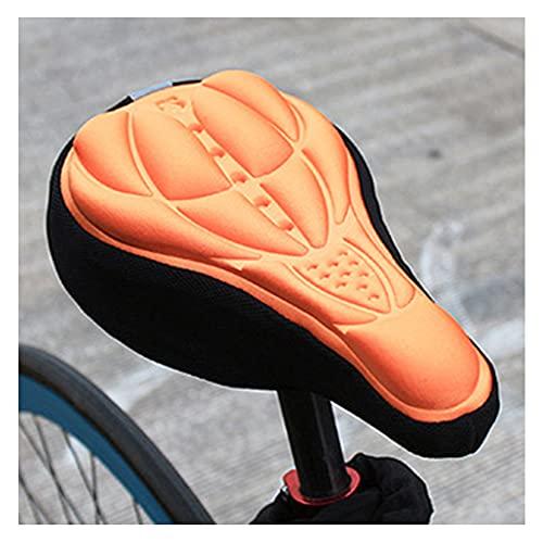 HBDY Funda de gel para asiento de bicicleta, 3D, para asiento de bicicleta de montaña y sillín de bicicleta de carretera, para hombres y niños, almohadilla de espuma suave (naranja)