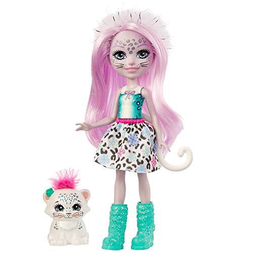 Enchantimals-Sybill Snow Leopard y Flake Muñeca con Mascota, multicolor (Mattel GJX42)