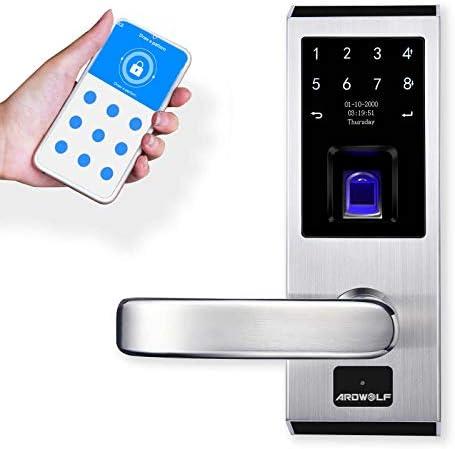 Ardwolf A50S WiFi Door Lock with Left-Handle, Keyless Entry Smart Biometric Finger-Print Door Locks Front Door-Locks with Keys Keypad Auto-Lock for Home Hotel Exterior Interior Doors
