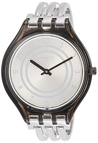 Swatch Damen Analog Quarz Uhr mit Edelstahl Armband SVOM105B