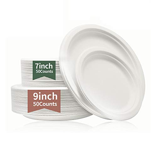 Chinette Paper Plates Dinner (7 inch 50 Pcs) + Disposable Plates (9 inch 50 Pcs), Dessert Plates Disposable, Compostable Biodegradable Dinner Plates, Set of 100, Suitable for Restaurant/Fast Food Shop