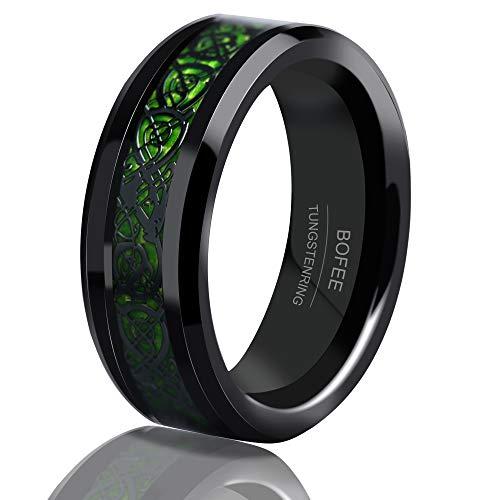 BOFEE Mens 8mm Black Tungsten Rings Celtic DragonGreen Carbon Fiber InlayComfort Fit Wedding Bands (10)