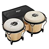 """Eastar Bongo Drums 6"""" and 7"""" Congas Drums for Kids Adults Beginners Professionals Wood Percussion Instrument Bongos for Kids Adults Beginners with Bag and Tuning Wrench, Natural Finish, EBO-1"""