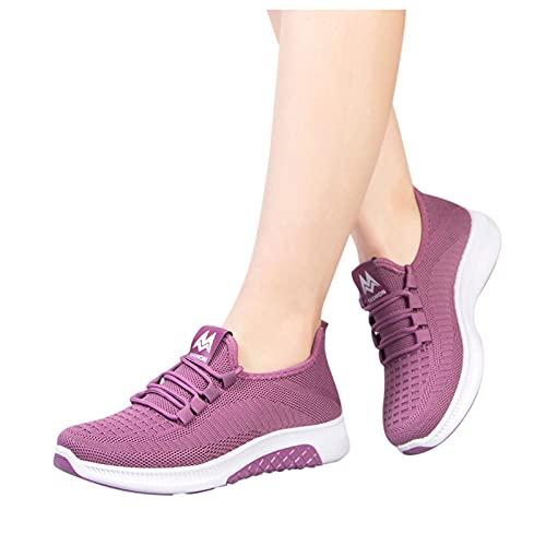 VESNIBA Damen Turnschuhe Slip On Walking Tennis Schuhe Athletic Mesh Laufschuhe Leichte Tennis Casual Mode Jogging Sport Sneaker Herren UK-Größe 6 A2 violett