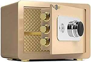 ZXY-NAN Gold Small, Hotel Mini Steel Safety Storage Box, Household Safety Box, Mechanical Code Lock, S/L (Size : L) (Color : -) Storage Chests Furniture