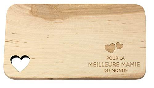 Tagliere per la colazione in legno con incisione · regalo per la famiglia · tagliere in legno con scollo a cuore · regalo per nonna · regalo per nonna Pour La Meilleure Mamie