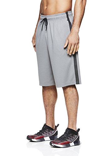 Reebok Men's Mesh Basketball Gym & Running Shorts w/Elastic Drawstring Waistband - Light Ash Squat up, X-Large