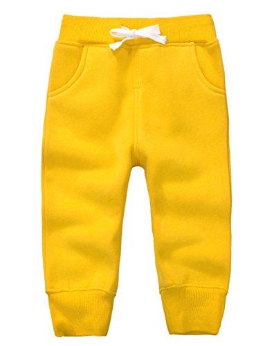 DELEY Unisex Baby Jungen Mädchen Hosen Kinder Jogginghose Baumwolle Fleece Elastische Taille Sweathosen Winter Pants Größe 4 Jahre Gelb