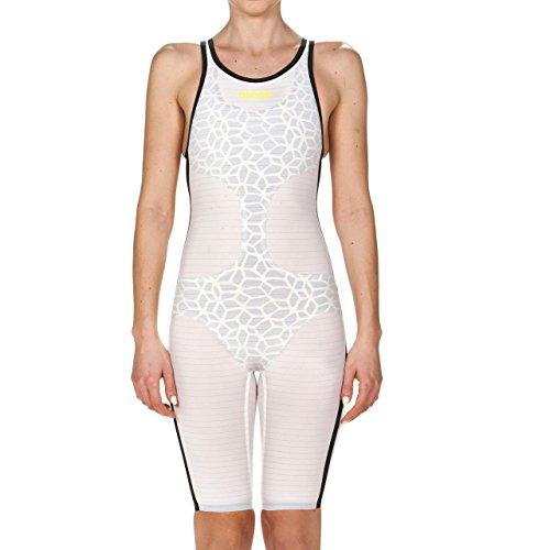 Arena Powerskin Carbon Air - Traje de baño para Mujer, Espalda Abierta, Blanco/Negro, 28