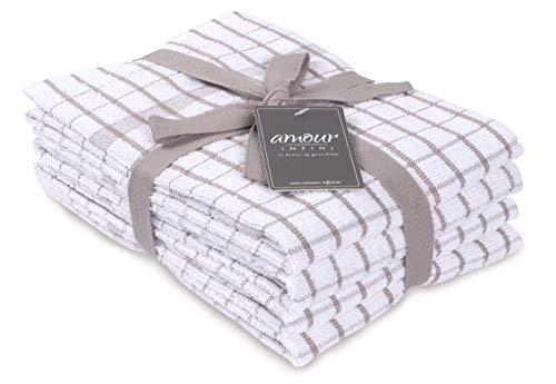 AMOUR INFINI Terry Kitchen Towels | Set of 4 | 50 x 70 cm | Super Plush and Absorbent |100% Cotton Dish Towels with Hanging Loop | Perfect for Household and Commercial Uses | Beige