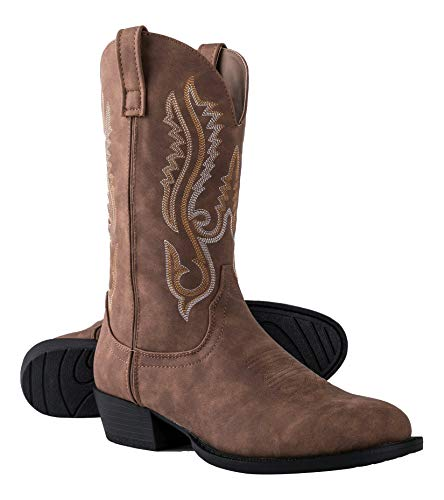 Canyon Trails Mens Classic Durable Pointed Toe Embroidered Western Rodeo Cowboy Boots (Brown, Numeric_12)