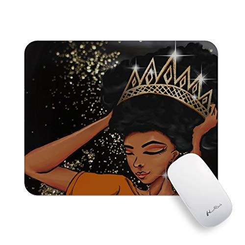 Hunthawk Pretty Mouse Pad, Afro Girls Mouse Pads with Unique Design, Premium Textured Non-Slip Rubber Base Mousepad Gaming, Waterproof Office MousePads, for PC Computers Laptop, 7.9 x 9.8 x 0.1 inch