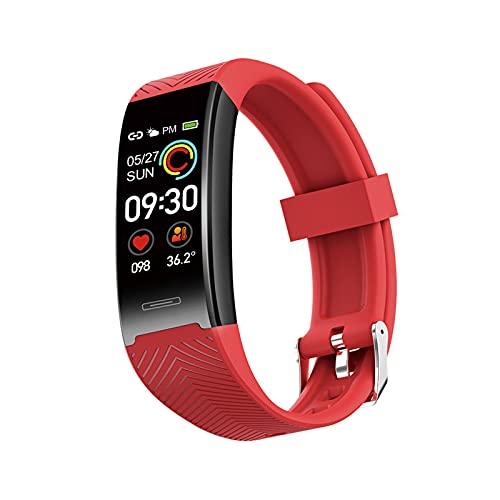 PYAIXF Reloj Inteligente, 0,96 Pulgadas Reloj con Contador De Pasos Contador De Calorías Rastreador De Sueño Rastreadores De Fitness para Hombres Mujeres Compatible con Android-Red