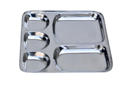 Insideretail 5 Compartment Square Stainless Steel Indian Thali Plate (Set of 6), Silver