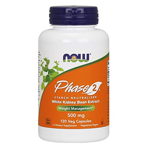 NOW Supplements, Phase 2 (White Kidney Bean Extract) 500 mg, Weight Management*, 120 Veg Capsules