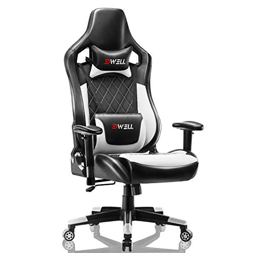 Gaming Stuhl Computer Spielstuhl - Einstellbare Drehenende zum Haus Office Liegestuhl mit Hohen Rücken Kopfstütze und Taille-Massage Unterstützung Lehnstuhl für PC (Weiß)