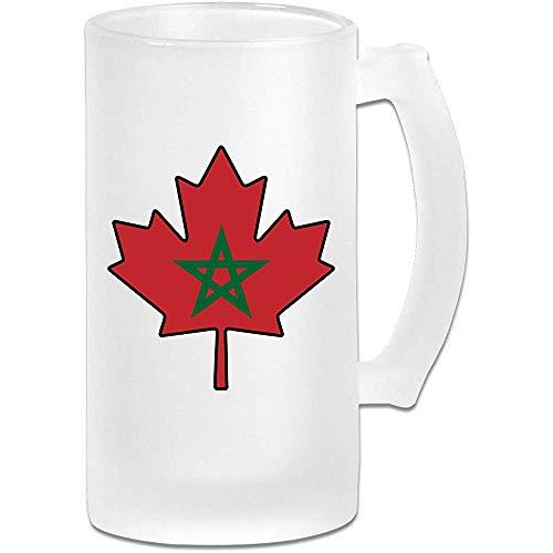 Marokko vlag Canada esdoorn blad mat glas Stein bier mok, pub mok, drank mok, geschenk voor bier Drinker, 500Ml (16.9Oz)