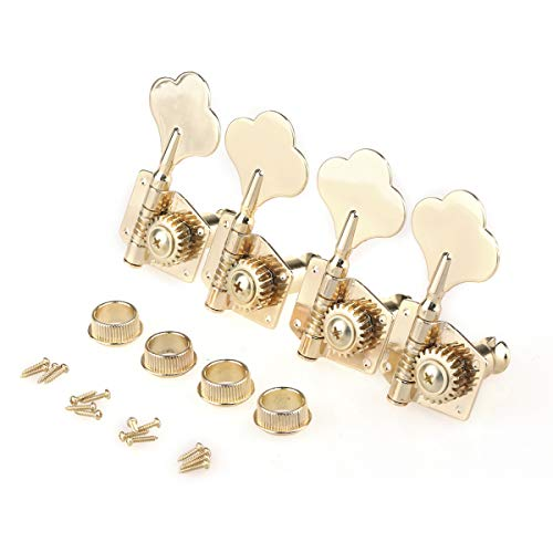 Gold Bass Tuning Pegs Keys Machine Head Tuners Set 2R2L for 4-strings Bass
