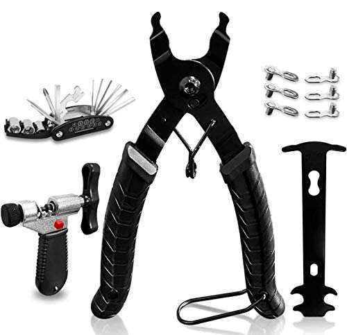 SmoBea Bike Chain Tool Kit with Bike Link Plier + Chain Breaker Splitter Tool + Chain Checker + 3 Pairs Bicycle Missing Links, Bike Link Opener Closer Plier Chain Cutter Connector Wear Indicator Tool