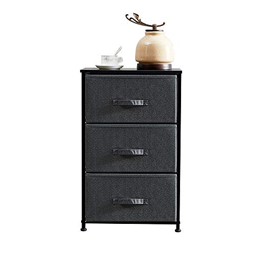 QIHANG-UK Bedroom Chest Fabric 3 Drawers Clothes Organizer Storage Unit Charcoal Dark Grey Modern Dresser Small Light Weight for Living Room Nursery Children Room Toy Hallway Wood Board Metal Frame